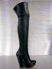 MORI ITALY WEDGES NEW OVERKNEE HEELS BOOTS STIEFEL STIVALI LEATHER BLACK NERO 44