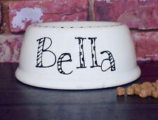 medium slanted dog food bowl hand painted personalised ceramic dog food bowl