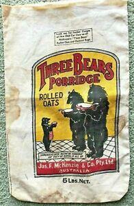 Vintage McKenzie's Brand Rolled Oats Sack/Bag - Three Bears Porridge c1930's