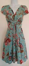 Womens Joe Browns Duck Egg Blue Floral Vintage Style Tea Dress With Pockets 10.