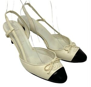 CHANEL Coco Mark Cc Bicolor Sandals Heels #36 US 6 White Black Leather RankAB