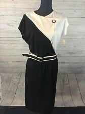 Lane Bryant Black White Vintage Dress Belted Plus Size 19 Union Made in USA