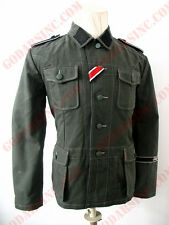 WWII German Elite M42 Reed Green HBT Field Tunic Size M (with full insignias)