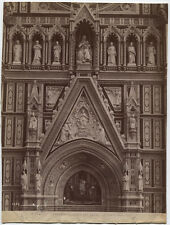 ANTIQUE ALBUMEN ARCHITECTURAL DETAIL WITH FIGURES, CHURCH, ITALY.