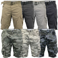 Mens Crosshatch Camouflage Shorts Cargo Combat BELT Knee Length Jeans Military