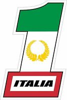 Sticker decal car bike bumper number # 1 italia italy flag race