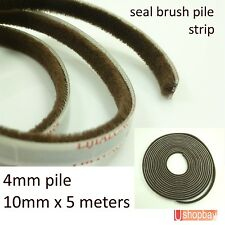 Seal Brush pile Dust Excluder Self Adhesive strip tape 10mm for door window 5M