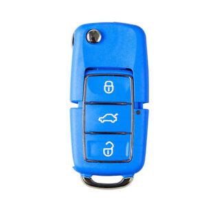 BLUE VW / SKODA GOLF MK6 POLO CADDY BEETLE FABIA REMOTE KEY FOB CASE 3 BUTTONS