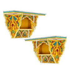 Set of 2 Painted Floating Shelves , Wall Shelves Moroccan shelf Yellow