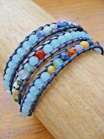 Chan Luu Bracelet 3 Wrap Amazonite Pale Blue w Earthy Stones on Dark Leather NEW