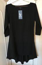 Lenitif NERO ASIMMETRICO DRESS 3/4 Maglia Nuovo con etichette Festa di Smart Taglia S