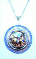 Pendant Orgone Orgonite Norwegian Pyrite stones and crystals, 24K Gold, unisex