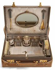 French Leather Cased Silver and Glass Cosmetic Set with Canvas Cover Circa 1920