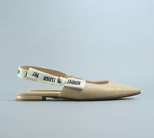 Authentic Christian Dior Beige J'Adior Leather Slingback Pump Flats 37.5 US7.5
