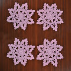 4Pcs%2FLot+Pink+Vintage+Hand+Crochet+Lace+Doilies+Snowflake+Pattern+6inch+Wedding