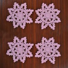 4Pcs/Lot Pink Vintage Hand Crochet Lace Doilies Snowflake Pattern 6inch Wedding
