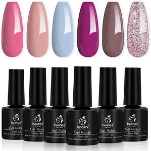 Beetles Gel Nail Polishes-Blue Brown Purple Glitter Pink Nude Gel Polish Set Soa