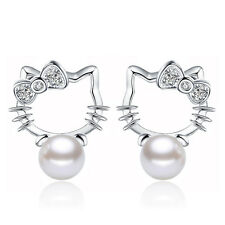 Cute Crystal Kitty Cat Pearl Ear Stud Earrings Women's Silver Plated Jewelry