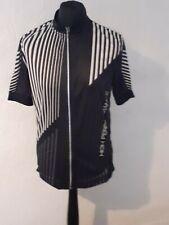 Crivit Pro Sports Cycling Jersey Short Sleeve Striped Full Zip Size Large