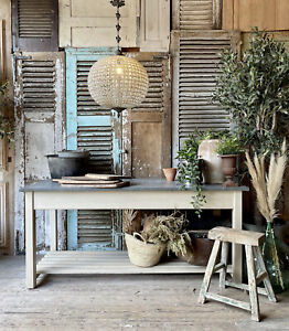 Rustic Galvanised Top Table / Kitchen Island