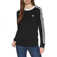 Adidas Originals 3 Stripe Womens T-shirt Long Sleeve - Black All Sizes