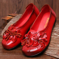 SOCOFY Women Ladies Flower Tassel Soft Leather Slip On Flat Casual Vintage Shoes