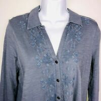 J Jill Womens Top sz M Blue Aztec Embroidered Button Down Long Sleeve MU42