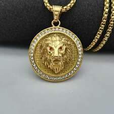 Mens Hip Hop Necklace Gold Plated St. Steel Lion Head CZ Pendant Box Chain 24""