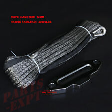 """12mm 1/2"""" x 30M 100' gray Synthetic Winch Rope Cable for dyneema Hawse Fairlead"""