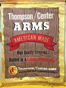vintage THOMPSON CENTER ARMS SILK GUN DEALER BANNER SIGN