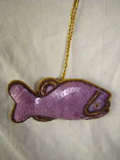 LAVENDER SEQUINED FISH WALL HANGING, CHRISTMAS DECORATION HANDMADE IN INDIA