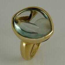 Ring in 375/- Gelbgold mit 1 Fluorit  - Aquamarinfarben grün blau NEU Gr. 56