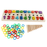 Wooden Number Shape Puzzles Preschool Toddler Montessori Toy