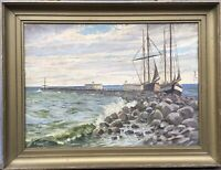 Oil Painting Georg Gundorff 1876-1925 Small Port At Sea With Ships Maritime
