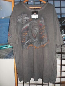 NOS Harley Davidson Mens Jaded Joker Flames Oil Wash Sleeve T-Shirt 35XG-H88W