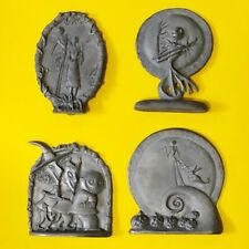 A Nightmare Before Christmas ( NBC)  SET OF 4 PEWTER DISPLAYS PLAQUES