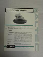 Vintage Original Altec 616-8A Duplex Ceiling Speaker Specification Sheet (A3)