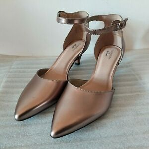 CLARKS LINVALE EDYTH WOMENS PEWTER METALLIC LEATHER LOW HEEL COURT SHOES SIZE 6