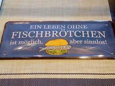 Maritimes Schild Ein Leben ohne Fischbrötchen... aus Metall 28 x 12 cm