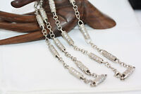 """Vintage Men's Women's Sterling Silver 29"""" Heshe CZ Chain Collar Necklace 7mm 63g"""