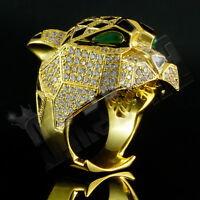 18K Gold Plated LEOPARD ICED OUT Simulated Diamond Band Mens Bling Ring NEW