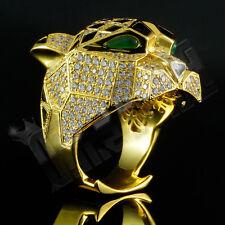 Chapado en Oro 18K Leopardo Bling Diamante Banda hacia fuera helado simulado Mens Anillo Nuevo