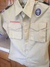 BSA Cub Boy Scout Uniform Shirt Beige Khaki Medium M Patches Ribbon Pins Merit