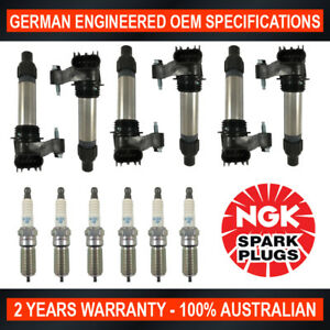 6x Genuine NGK Platinum Spark Plugs & 6x Ignition Coils for Holden Commodore VE