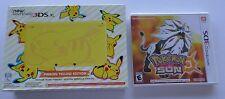 NEW Nintendo 3DS XL Pikachu Yellow Video Game Console + Pokemon Sun