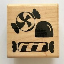 JRL Design CANDY Rubber Stamp Sweets Treats Store Shop Halloween Wood Mounted