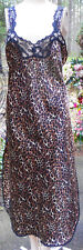 CINEMA ETOILE Bronze & Black Poly Satin Leopard Pattern Long Lacy Nightgown! S