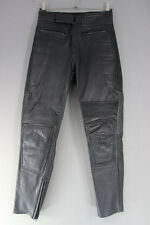 CLASSIC BLACK LEATHER BIKER TROUSERS: WAIST 32 INCHES/INSIDE LEG 32 INCHES