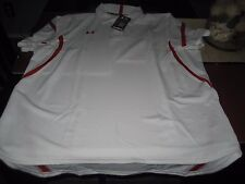MENS UNDER ARMOUR HEATGEAR SHORT SLEEVE POLO SHIRT WHITE/RED SIZE XL NWT