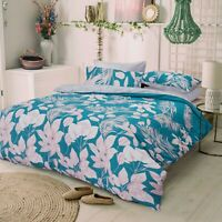 Duvet Set cover - King Size Cotton Bedset Turqoise Jungle Leaves Design Bedding